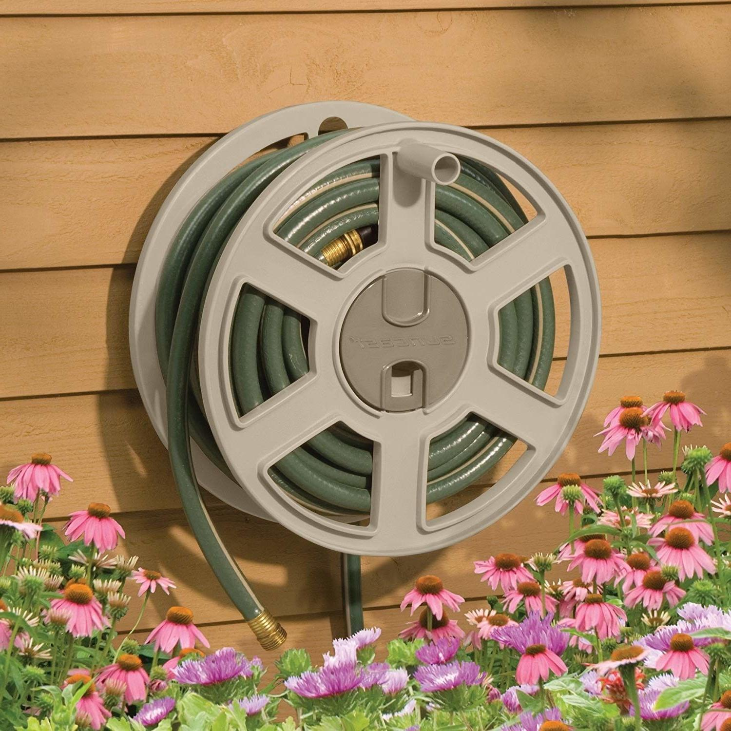 Wall Mount Water Hose Reel 100 ft Holder Side Tracker Outdoo