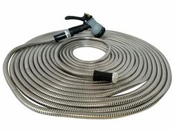 Metal Garden Hose 25' ft  Stainless Steel With Free 8 Patter
