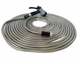 Metal Garden Hose 50' ft  Stainless Steel With Free 8 Patter