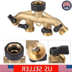 """New 3/4"""" 4Way Brass Garden Water Tap Splitter Adapter Hose P"""
