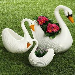 Set of 3 Swan Planter Garden Pots Flowers Yard Art Outdoor L
