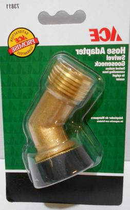 2 X ACE Solid Brass Garden Hose Adapter Swivel Gooseneck Hea