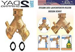 Solid Brass Garden Hose Splitter 2 Way Heavy Duty Garden Hos