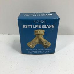 INNAV8 Solid Brass Garden Hose Splitter 2 Way Heavy Duty Eas