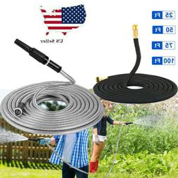 Stainless Steel Garden Water Hose Pipe 25-100FT Flexible Lig