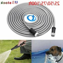 Stainless Steel garden hose Water Pipe 25/50/75/100FT Flexib