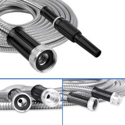 Stainless Steel Metal Garden Hose Water Pipe 25/50/75/100FT