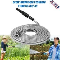 25 50 75 100Ft Stainless Steel Metal Garden Water Hose Light