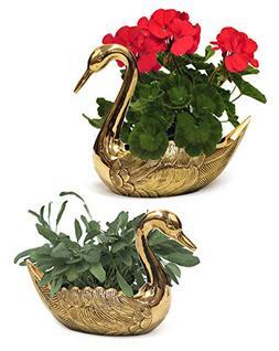 IOTC BR 2831 Brass Swan Planter 2 Piece Set Yard Garden Deco