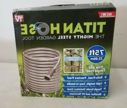Titan 75FT Garden Hose - All New stainless steel Kink and ta